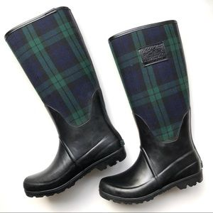 Ralph Lauren New York Plaid Navy Green Rain Boots